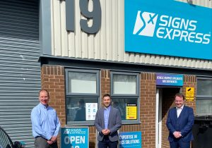 From left to right - Darryl Lillie, previous Owner of Signs Express (Gloucester), Ben Walker new Owner of Signs Express Gloucester) and Jonathan Bean Managing Director of Signs Express Limited
